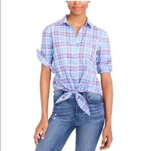 NWOT! J.Crew Factory Gingham Front Tie Blouse